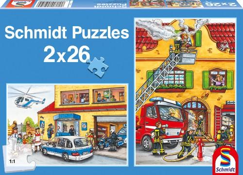 Puzzle Feuerwehr und Polizei 2 x 26 Teile