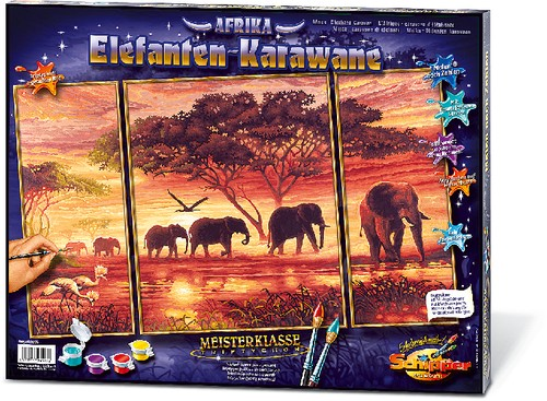 Elefanten Karawane Triptichon MnZ 50x80