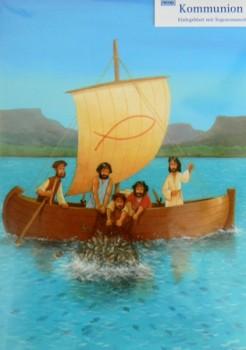 Grusskarte Kommunion Mit Jesus im Boot Glückwunschkarte