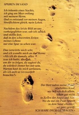 Spuren im Sand Wandspruch