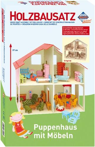 PEBARO Holzbausatz Puppenhaus+Möbel 40 x 37 cm B-Ware OVP