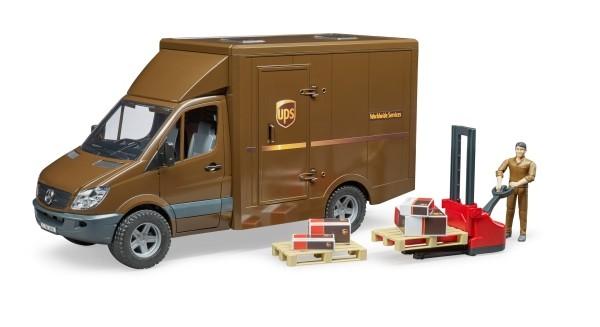Bruder Sprinter UPS mit Fahrer und Zubehör 4+j B-Ware OVP