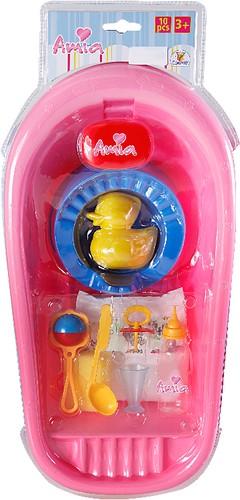 Amia Puppen-Badewanne rosa mit Zubehör-Set 43 cm