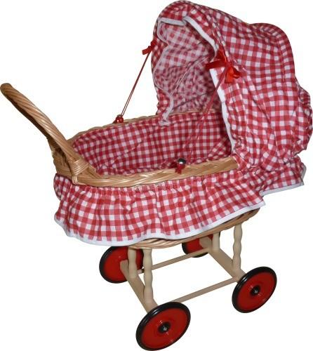 Puppen-Korbwagen Karo rot-weiß