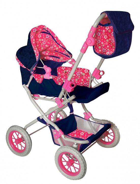 Amia Puppenwagen Flower pink-blau ab3J B-Ware OVP
