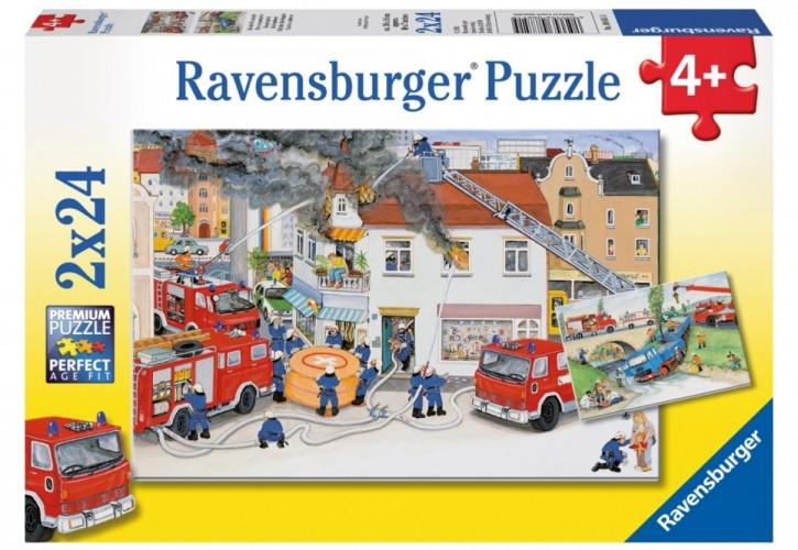 Ravensburger Puzzle Bei der Feuerwehr 2 x 24 B-Ware OVP