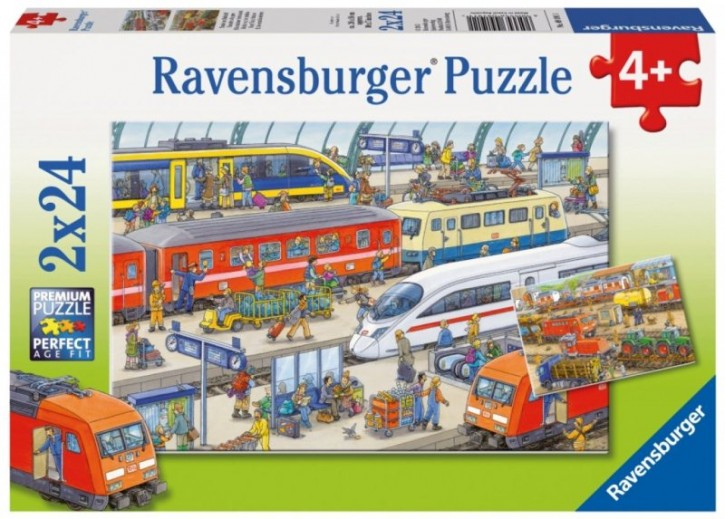 Ravensburger Puzzle Trubel am Bahnhof 2 x 24 B-Ware OVP