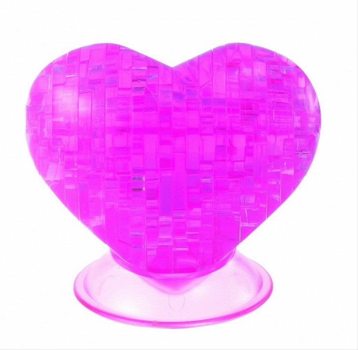 Puzzle 3D Crystal Herz pinkrot 46 Teile