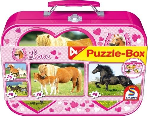 Puzzle Pferde im Metallkoffer 2x26+2x48 Teile