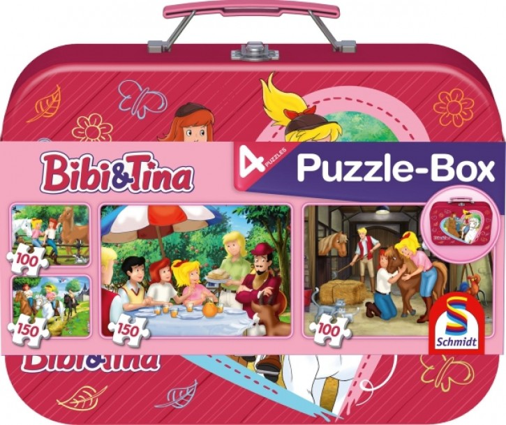 Puzzle Bibi & Tina im Metallkoffer 2x100+2x150