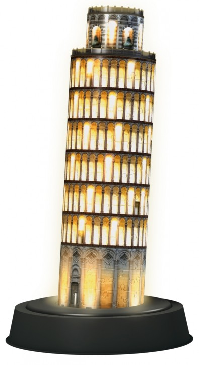 3D Puzzle Schiefer Turm von Pisa bei Nacht mit LED
