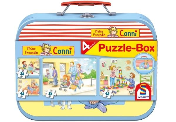 Schmidt Spiele Puzzle Meine Freundin Conni im Metallkoffer 2x26, 2x48 T.