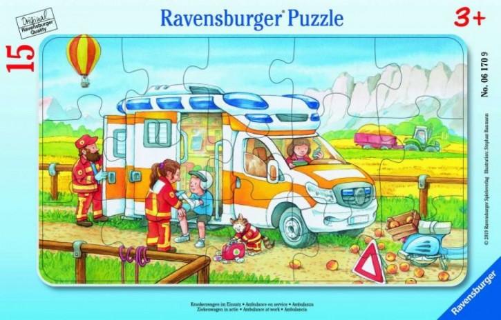 Ravensburger 06170 Rahmenpuzzle Krankenwagen im Einsatz 15 Teile B-Ware OVP