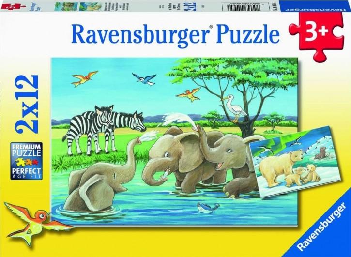Ravensburger 05095 Puzzle Tierkinder aus aller Welt 2 x 12 Teile