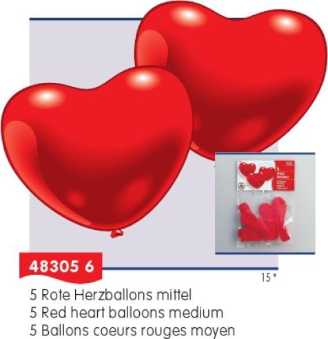 Luftballons Herzform rot 5St. 60cm B-Ware OVP