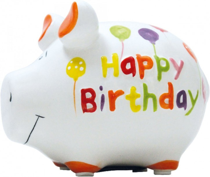 Sparschwein Happy Birthday 14cm