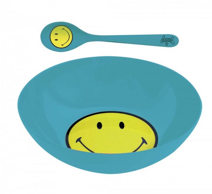 Smiley Frühstücksset aquablau 17 cm