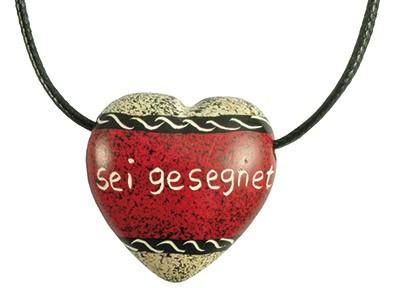 Sei gesegnet Herz-Anhänger Motiv Zebra Speckstein