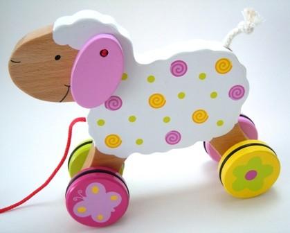 Zieh-Schaf aus Holz Ziehtier Goki 12+m B-Ware OVP