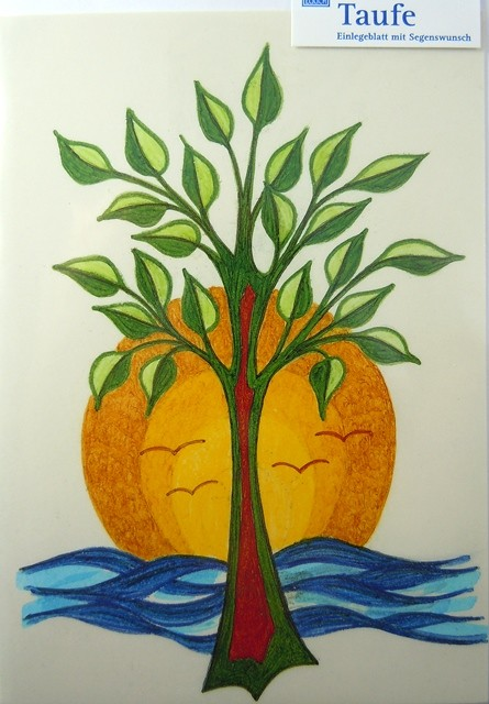 Grusskarte zur Taufe Lebensbaum