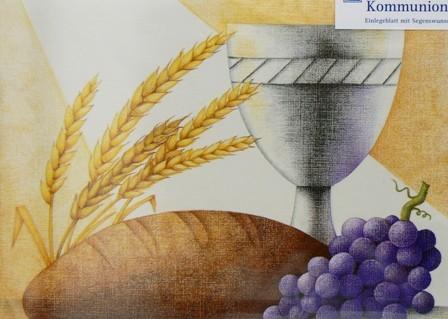 Grusskarte Kommunion Ähren Trauben Kelch Brot Glückwunschkarte