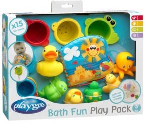 PLAYGRO Badespielzeug-Geschenkset 15tlg+Netz 3+m