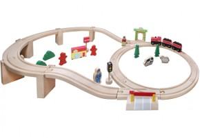 SpielMaus® Holzeisenbahn in Trommel 38-teilig