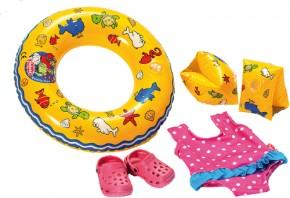 Puppen-Schwimmset mit Badeanzug und Zubehör 6tlg Gr.35-45 cm
