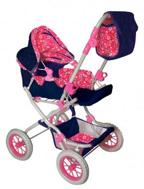 AMIA Puppenwagen Flower pink-blau