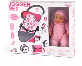 bayer Puppen-Jogging-Buggy mit Puppe 33 cm 3+j