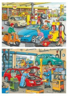 Ravensburger Puzzle Autowerkstatt und Tankstelle 2 x 24 B-Ware OVP