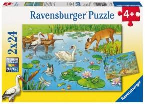 Ravensburger Kinderpuzzle Tiere auf & unter Wasser 2 x 24