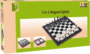 Natural Games Schach Dame Backgammon 3-in-1 Magnetspiel