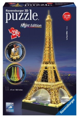 Ravensburger Eiffelturm bei Nacht 3D Puzzle Night Edition mit LED