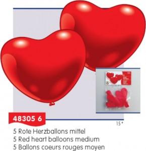 Luftballons Herzform rot 5St. 60cm