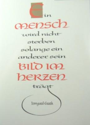 Trauerkarte Bild im Herzen Irmgard Erath