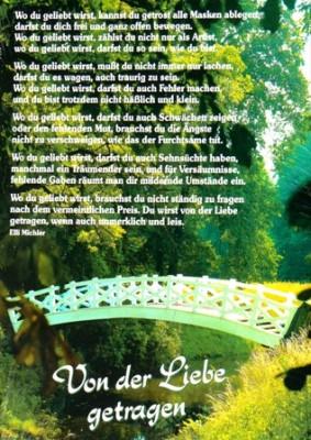 Von der Liebe getragen Elli Michler Wandspruch
