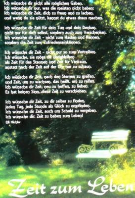 Zeit zum Leben Elli Michler Wandspruch