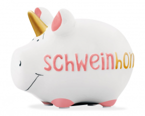 Sparschwein Schweinhorn Porzellan 14cm